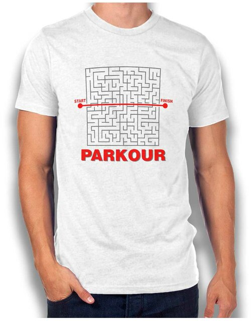 Parkour Start Finish T-Shirt weiss L